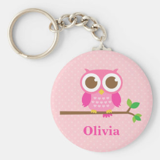Cute Girly Pink Owl on Branch For Girls Basic Round Button Key Ring