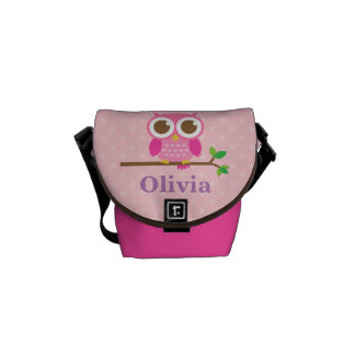 Cute Girly Pink Owl on Branch For Girls Messenger Bags