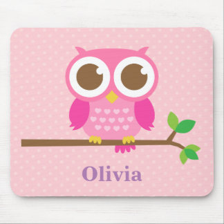 Cute Girly Pink Owl on Branch For Girls Mouse Pad