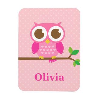 Cute Girly Pink Owl on Branch For Girls Vinyl Magnet