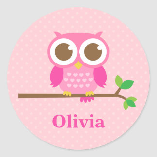 Cute Girly Pink Owl on Branch For Girls Classic Round Sticker