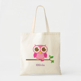 Cute Girly Pink Owl on Branch For Girls Tote Bag