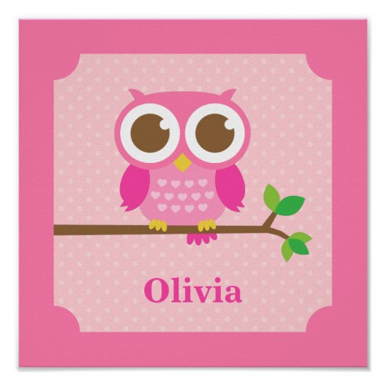 Cute Girly Pink Owl on Branch Girls Room