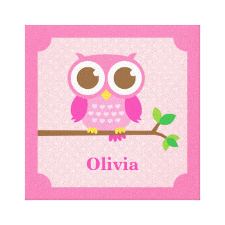 Cute Girly Pink Owl on Branch Girls Room Decor Gallery Wrapped Canvas