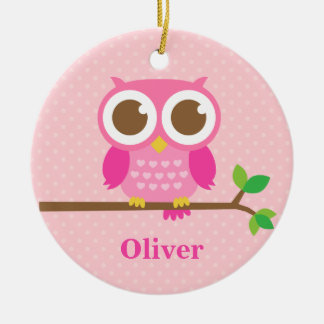 Cute Girly Pink Owl on Branch Girls Room Decor Christmas Ornament