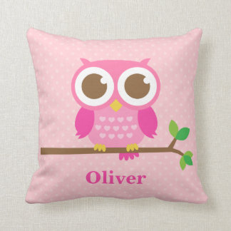 Cute Girly Pink Owl on Branch Girls Room Decor Cushion