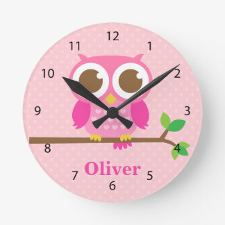 Cute Girly Pink Owl on Branch Girls Room Decor Wallclocks