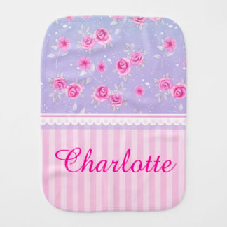 Cute Girly Pink Pink Floral Pattern Custom Name Burp Cloth