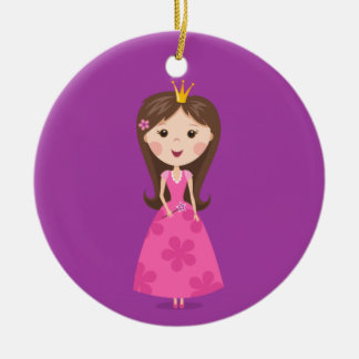 Cute girly pink princess on purple background christmas ornament