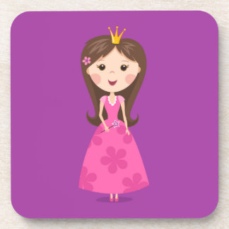 Cute girly pink princess on purple background beverage coaster