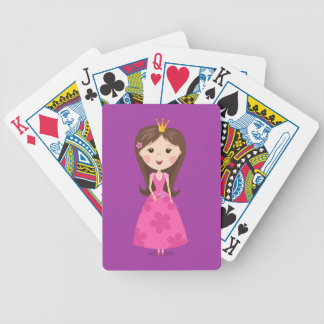 Cute girly pink princess on purple background bicycle poker cards