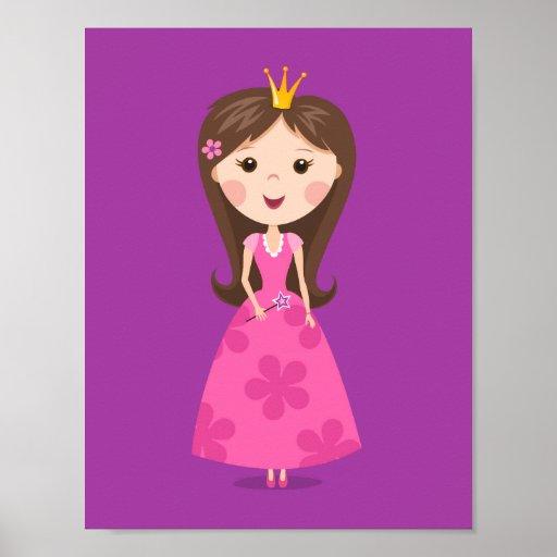 Cute girly pink princess on purple background print