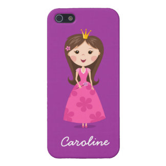 Cute girly pink princess on purple personalised iPhone 5 covers