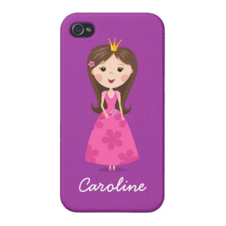Cute girly pink princess on purple personalized iPhone 4/4S covers