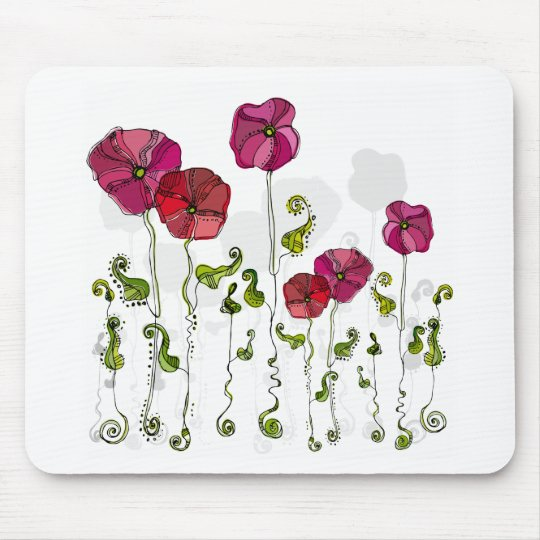 Cute Girly Pink & Red Retro Floral Mouse Pad