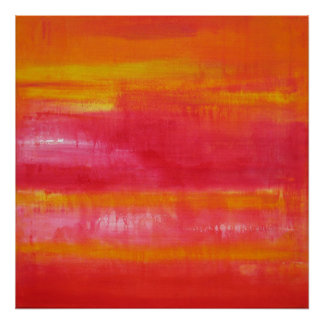 Cute Girly Pink, Red, Yellow Abstract Art Poster