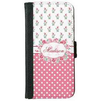 Cute Girly Pink Roses and Dots Monogram iPhone 6 Wallet Case