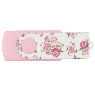 Cute girly pink roses USB flash drive
