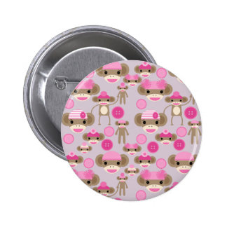 Cute Girly Pink Sock Monkey Girl Pattern Collage 6 Cm Round Badge