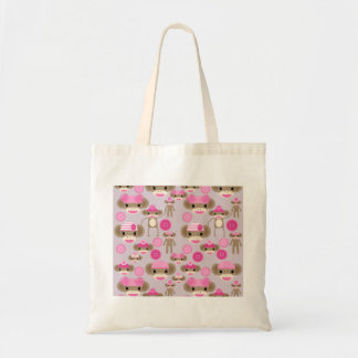 Cute Girly Pink Sock Monkey Girl Pattern Collage Bags
