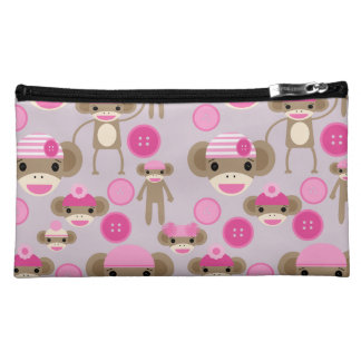 Cute Girly Pink Sock Monkey Girl Pattern Collage Cosmetic Bags