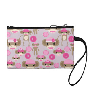 Cute Girly Pink Sock Monkey Girl Pattern Collage Coin Wallet