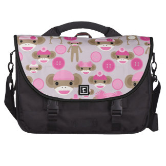Cute Girly Pink Sock Monkey Girl Pattern Collage Computer Bag