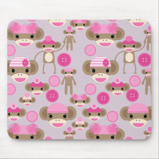 Cute Girly Pink Sock Monkey Girl Pattern Collage Mouse Pad