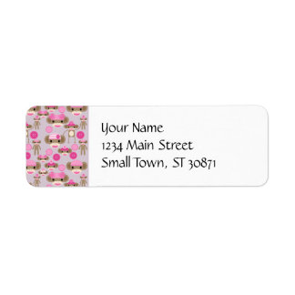 Cute Girly Pink Sock Monkey Girl Pattern Collage Return Address Label