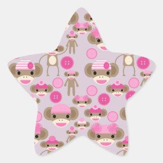 Cute Girly Pink Sock Monkey Girl Pattern Collage Star Sticker