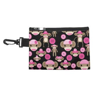 Cute Girly Pink Sock Monkeys Girls on Black Accessory Bag