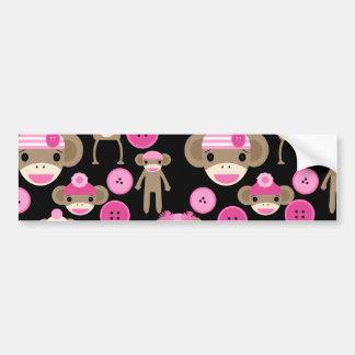 Cute Girly Pink Sock Monkeys Girls on Black Bumper Sticker