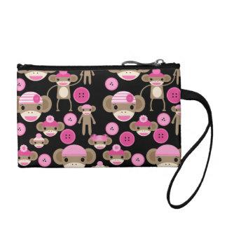 Cute Girly Pink Sock Monkeys Girls on Black Coin Wallet