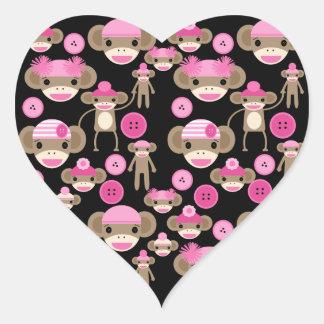 Cute Girly Pink Sock Monkeys Girls on Black Heart Sticker