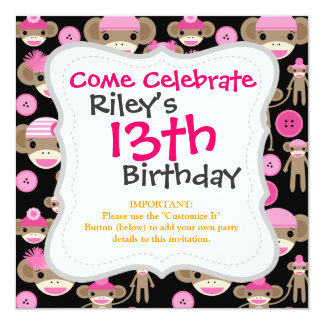 Cute Girly Pink Sock Monkeys Girls on Black 5.25x5.25 Square Paper Invitation Card