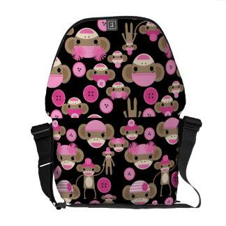 Cute Girly Pink Sock Monkeys Girls on Black Messenger Bag