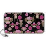 Cute Girly Pink Sock Monkeys Girls on Black Mp3 Speaker