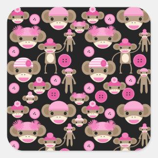 Cute Girly Pink Sock Monkeys Girls on Black Square Sticker