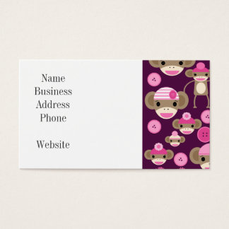 Cute Girly Pink Sock Monkeys Girls on Purple Business Card