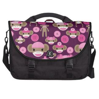 Cute Girly Pink Sock Monkeys Girls on Purple Laptop Bag