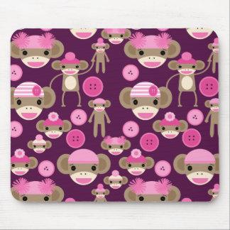 Cute Girly Pink Sock Monkeys Girls on Purple Mouse Pad