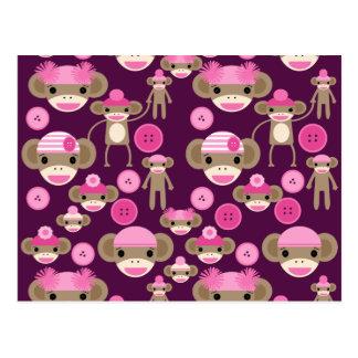 Cute Girly Pink Sock Monkeys Girls on Purple Postcard