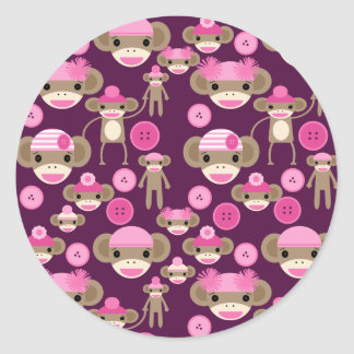 Cute Girly Pink Sock Monkeys Girls on Purple Round Sticker
