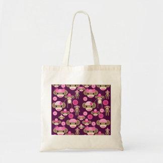 Cute Girly Pink Sock Monkeys Girls on Purple Tote Bag