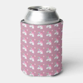 Cute Girly Pink Unicorn Flower Emoji Pattern Can Cooler