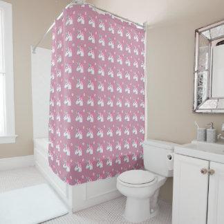 Cute Girly Pink Unicorn Flower Emoji Pattern Shower Curtain