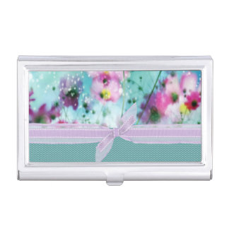 Cute Girly Polka Dots, Blooming Flowers Business Card Holder