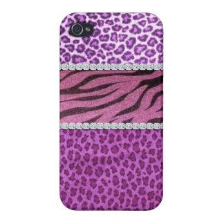 Cute Girly Purple Animal Print Diamond Case For iPhone 4