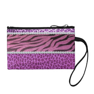 Cute Girly Purple Animal Print Diamond Coin Purse