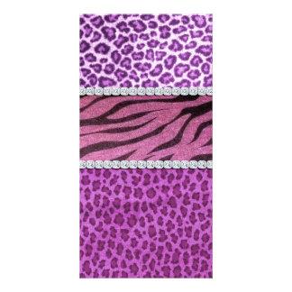 Cute Girly Purple Animal Print Diamond Custom Photo Card